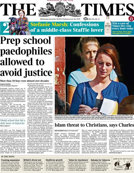 Times front page, 18/12/13