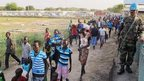 Civilians arrive at UN compound in Juba. 17 Dec 2013