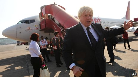 Boris Johnson about to board a plane