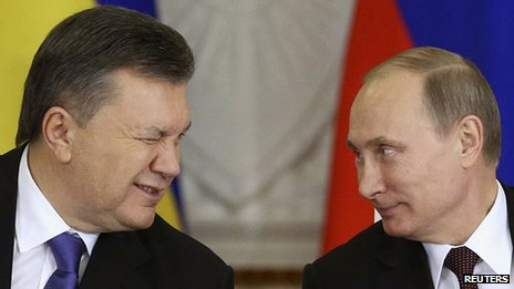 President Viktor Yanukovych and Russian President Vladimir Putin at the Kremlin. 17 Dec 2013