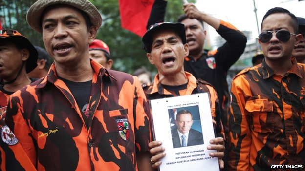 Indonesian protesters hold pictures of Australian Prime Minister Tony Abbott during an anti-spying protest outside the Australian Embassy in Jakarta on 26 November 2013