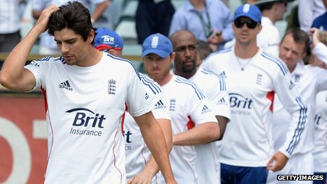 Members of England's losing Ashes squad, led by Alistair Cook
