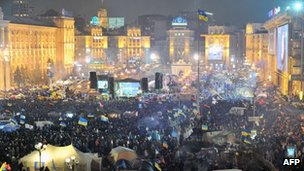 Protesters fill Independence Square in Kiev, Ukraine