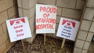 Placards at Stafford Hospital