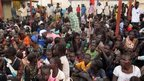 Civilians gathered at the UN compound in Juba. 17 Dec 2013