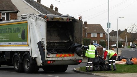 Bin men collecting rubbish