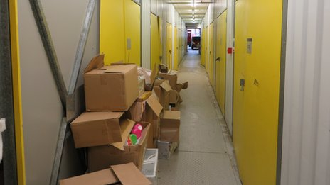 Boxes in the corridor at Access Self Storage in West Norwood