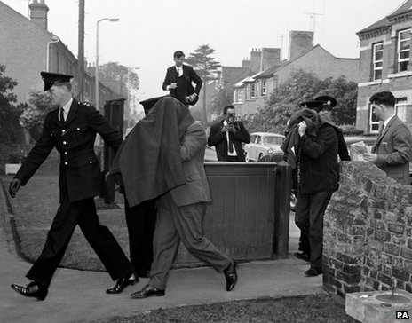 File photo dated 17/09/1963 of Brian Arthur Field and Leonard Dennis Field arriving at Linslade, Buckinghamshire