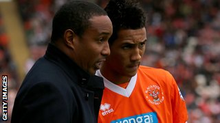 Blackpool manager Paul Ince and son Thomas