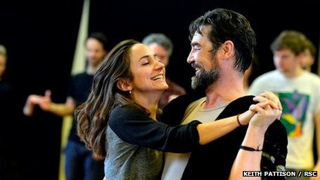 Lydia Leonard and Nathaniel Parker in rehearsal for Wolf Hall