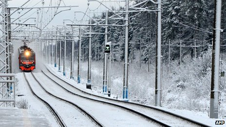Russian train in the snow