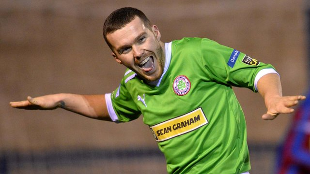 Cliftonville's Martin Donnelly celebrates scoring against Ards
