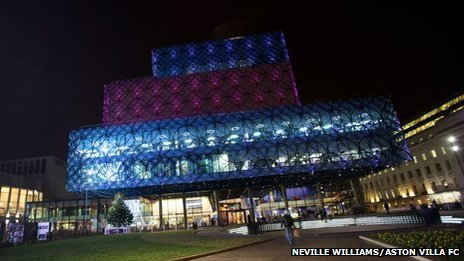 Birmingham Library in Aston Villa colours