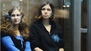 Pussy Riot's Maria Alyokhina and Nadezhda Tolokonnikova in court in Moscow, 10 October 2012