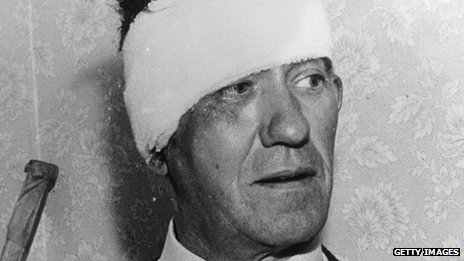File photo from 8 August 1963 showing train driver Jack Mills at home after the robbery