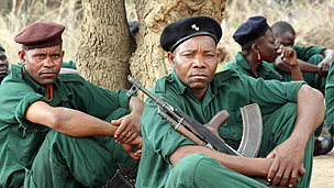 Renamo members at a training camp in the Gorongosa mountains