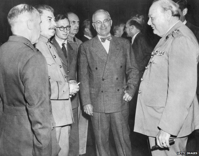 Winston Churchill, Harry Truman, Joseph Stalin at