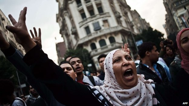 Activists chant slogans against the military in Cairo (27 November 2013)