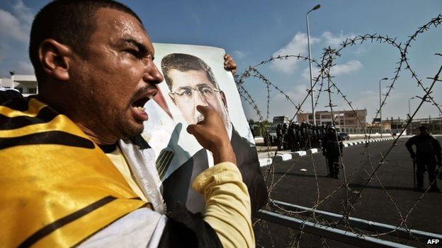 An supporter of ousted President Mohammed Morsi points at a portrait of him during a protest outside his trial in Cairo (4 November 2013)