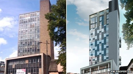 Westlegate Tower before the redevelopment and an artist's impression of how Westlegate Tower will look once completed
