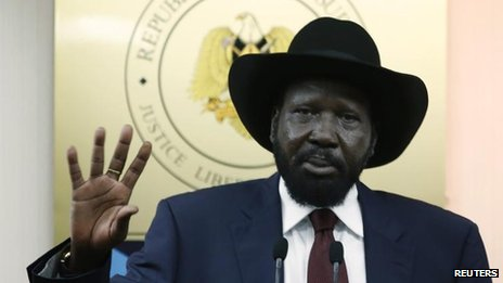 Salva Kiir at a press conference