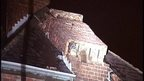 Gale force winds toppled a chimney stack onto the roof of a house in Newry's O'Neill Avenue