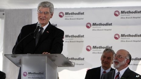 "Mississippi Governor Phil Bryant addresses the hundreds gathered for Methodist Healthcare Olive Branch Hospital""s grand opening ceremony in Olive Branch, Mississippi 21 August 2013"