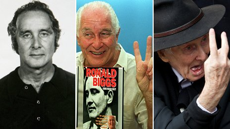 Composite image featuring three photographs of Ronnie Biggs through the years