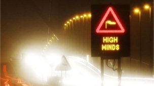 A road sign which says 'high winds'