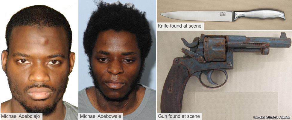 Michael Adebolajo and Michael Adebowale and their weapons