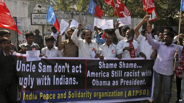 A protest near the US Consulate in Hyderabad, India, Thursday, Dec 19, 2013