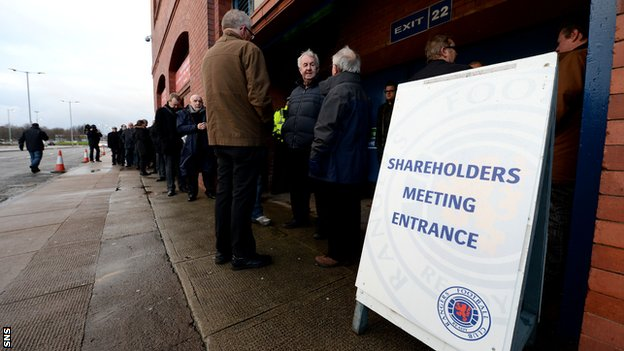 Rangers shareholders gather at Ibrox for Thursday's AGM