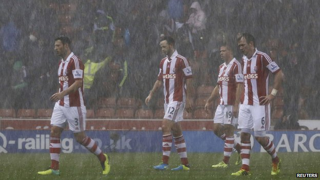 Stoke City players leave the pitch at the Britannia Stadium