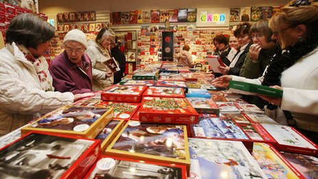 People buying Christmas cards