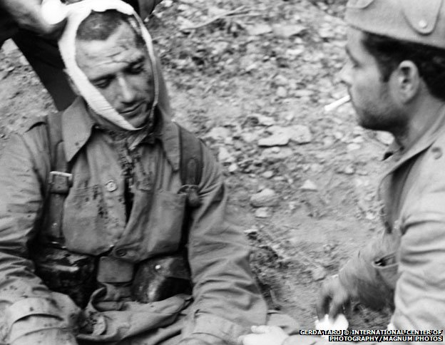 Wounded soldier with bandaged head