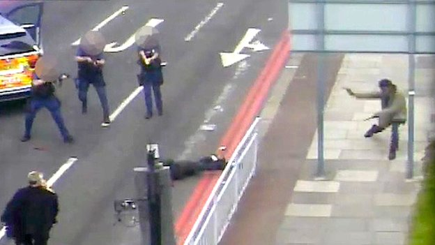 CCTV footage of the aftermath of the Lee Rigby murder
