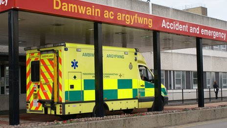 Welsh ambulance outside Glan Clwyd Hospital A&E