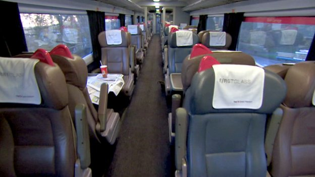 Inside an empty first class carriage of a First Great Western train