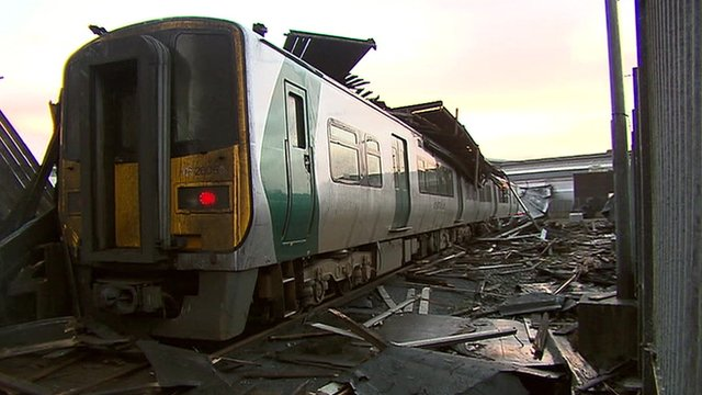 A damaged train in Ireland
