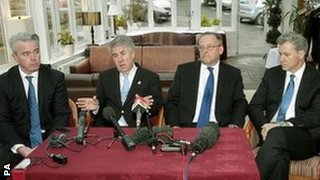From left: Paul Murray, Malcolm Murray, Alex Wilson and Scott Murdoch at a press conference following their failed attempt to gain a seat on the Rangers board