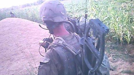 Still from video footage of incident taken by helmet camera