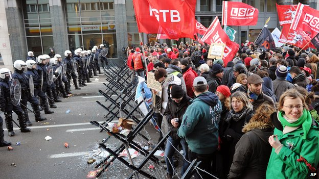 Anti-austerity protest in Brussels, 19 Dec 13