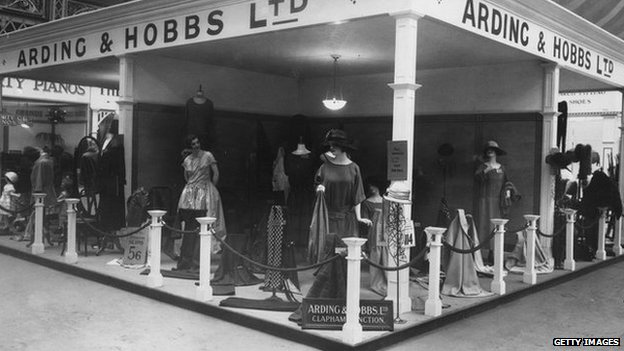 22nd April 1923: Department store Arding & Hobbs' stand at the Daily Express Women's Exhibition at Olympia exhibition centre in London.