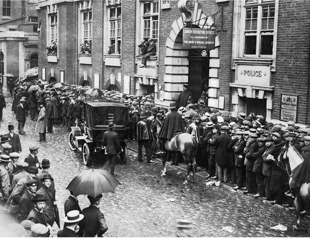 A queue of men outside a recruitment station in central London