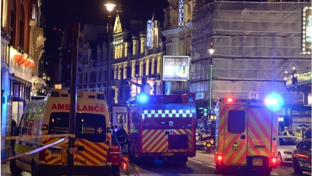 Emergency services outside the Apollo Theatre