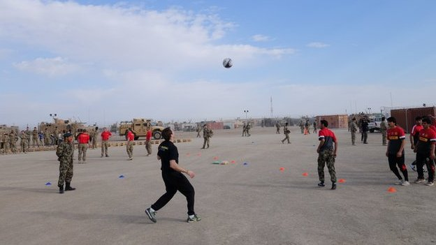 Kevin Kilbane training at Camp Bastion