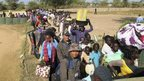 Civilians fleeing violence arrive at UN compound in Bor. 18 Dec 2013