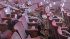 Debris on seats inside Apollo theatre