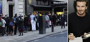 Composite image of the queue outside Waterstones, and David Beckham signing books