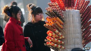 Two girls buy candied fruits in China